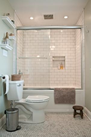 New efficient toilet. Custom built-in shower shelf.