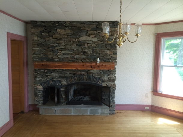 The living room fireplace was poorly designed, unsafe and falling apart