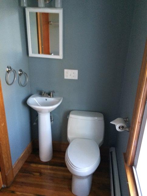 new mini pedestal sink and light fixtures